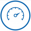 Icon of a dial showing good system performance